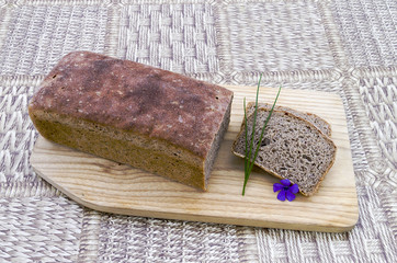 Homemade bread with chives and flower