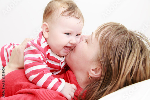 happy mother and cute baby