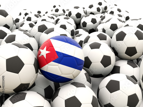 Football with flag of cuba
