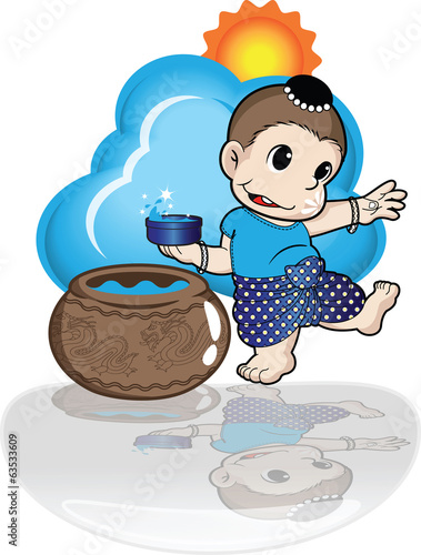 boy playing songkran day vector