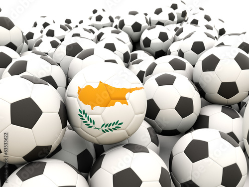 Football with flag of cyprus