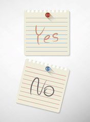 yes and no post-it lined notes