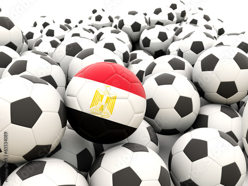 Football with flag of egypt