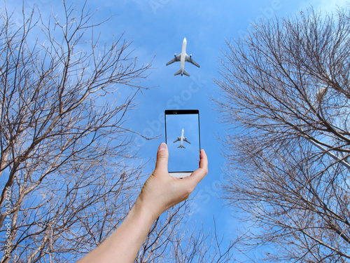 take photo of airplane