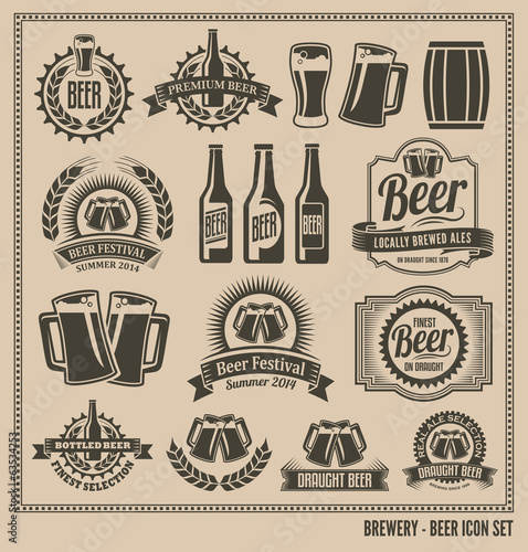 Beer Icon Set - labels, posters, signs, banners, vector design