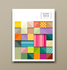 annual report, colorful pattern fabrics square design