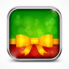 Metallic square green icon and bow on white, vector illustration