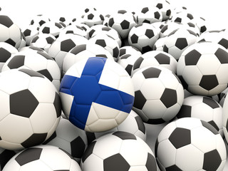 Football with flag of finland