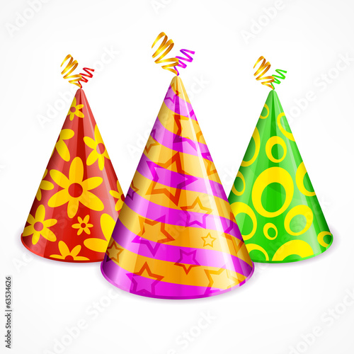 Three colorful party hats with decoration on white, vector