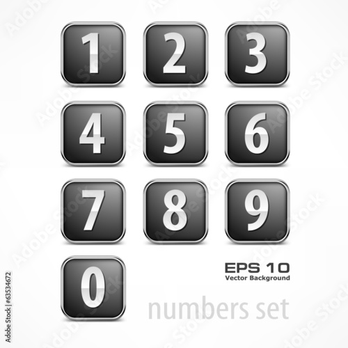 Set of buttons with number on white, vector illustration