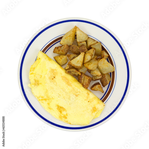 Omelet With Potatoes On Plate Top View