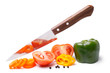 Fresh vegetables with knife