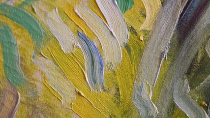 Colored oil paint trails on painting, HD.