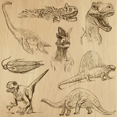 Dinosaurs no.1 - an hand drawn illustrations, vector set