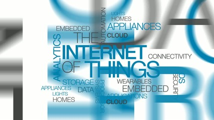 The Internet of Things connected words tag cloud animation