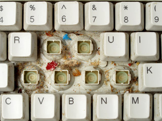 Dirty computer keyboard