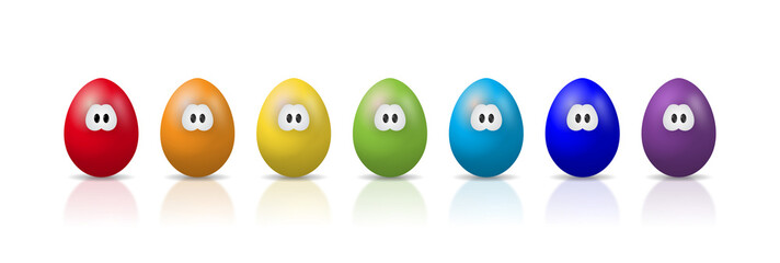 Lustige Comic-Eier mit Augen in bunten Regenbogenfarben