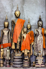 Buddha statues in Wat Xieng Thong in Luang Prabang , Laos ,South