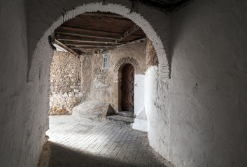 Gateway in old Medina. Historical central of Tangier city, Moroc