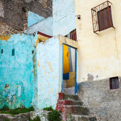 Colorful house fragment in old Medina, historical part of Tangie