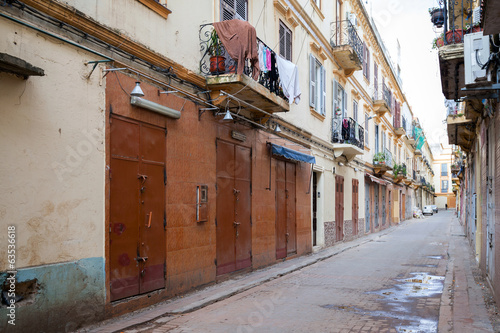 Empty street perspective. Old part of Tangier, Morocco