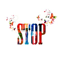 "Colorful vector ""STOP"" background with butterflies"