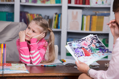 Little girl in psychologist office