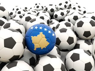 Football with flag of kosovo