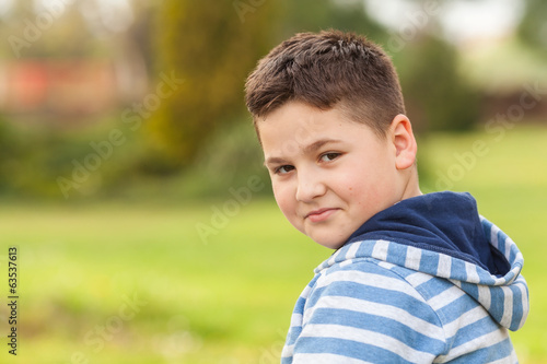 Portrait of a seven years old young caucasian boy