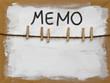 Memoboard mit Wäscheleine und Wäscheklammern, Textfreiraum