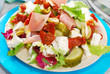 salad with ham,feta and vegetables