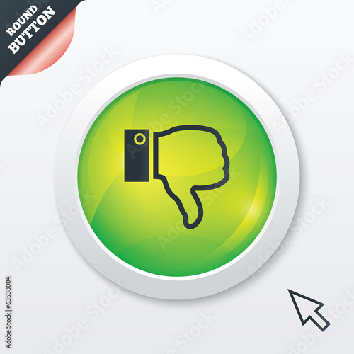 Dislike sign icon. Hand finger down symbol.