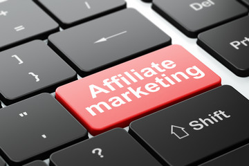 Business concept: Affiliate Marketing on computer keyboard