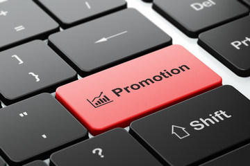 Marketing concept: Growth Graph and Promotion on computer