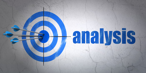 Advertising concept: target and Analysis on wall background
