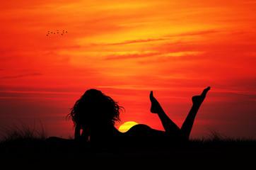 Woman lying in the sun