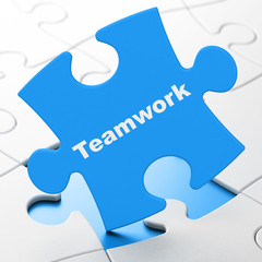 Business concept: Teamwork on puzzle background