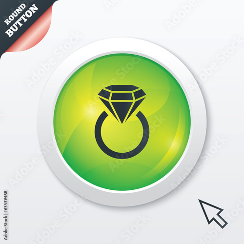 Jewelry sign icon. Ring with diamond symbol.