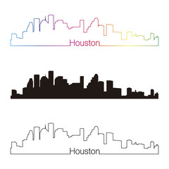 Houston skyline linear style with rainbow