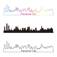 Panama City skyline linear style with rainbow