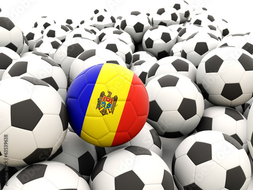 Football with flag of moldova