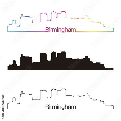 Birmingham skyline linear style with rainbow