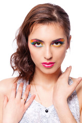 Woman with bright stylish make-up.