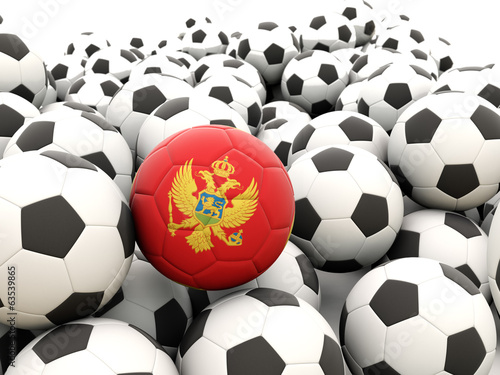 Football with flag of montenegro