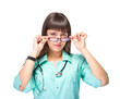 female medical doctor with glasses isolated