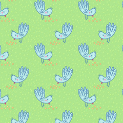 Pattern with  pecking birds