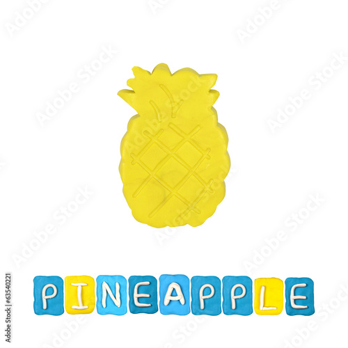 Color children's pineapple plasticine on a white background