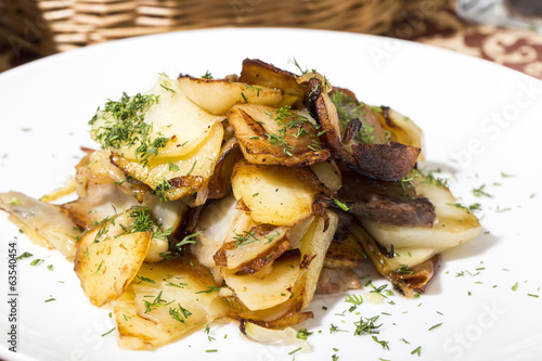 baked potatoes on a white background in restaurant