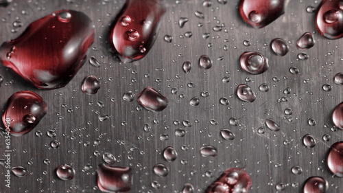 Drops on a metal surface.