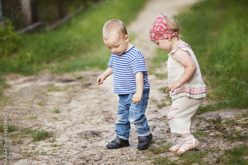 boy and girl walk together
